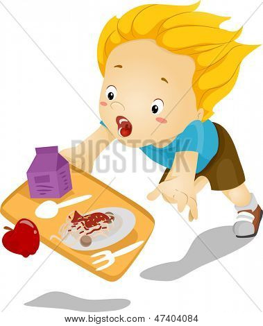 Illustration of a Little Kid Boy Tumbles Down and Drops his Food