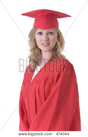 Graduate In Red Cap And Gown