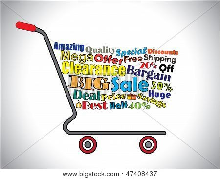 Shopping Cart Illustration: Mega Or Big Clearance Sale Shopping Cart Banner With All Key Texts Relat