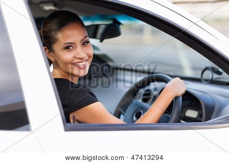 happy young businesswoman inside her new car