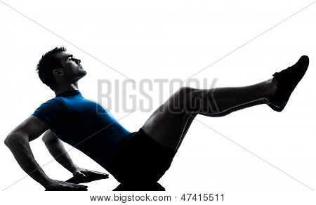 one caucasian man exercising workout fitness in silhouette studio  isolated on white background