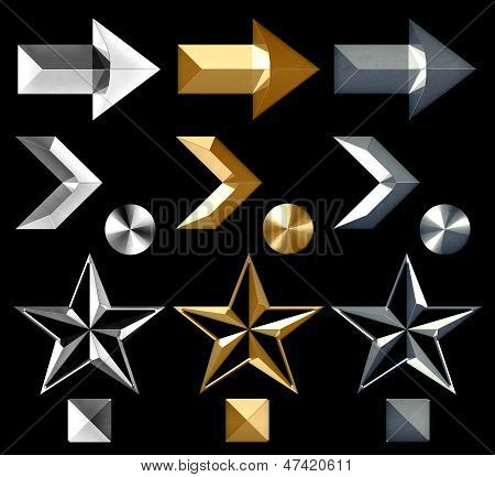 Metal Arrow Symbol Icons Silver Gold