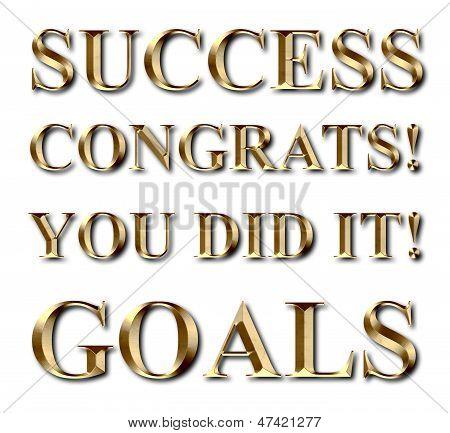 Success Goals Congrats Gold Text