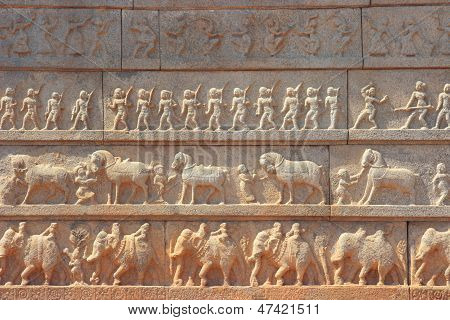 Wall With A Carved Relief: The Indian Army