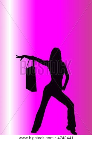 Black Shopping Woman Silhouette Pink Background