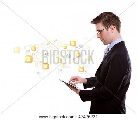 Portrait of young business man using a touch screen device with social network concept