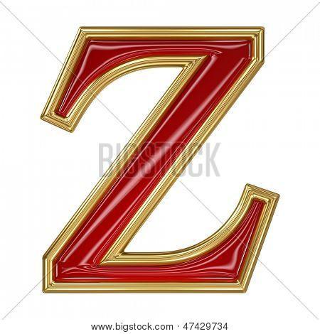Ruby red with golden outline alphabet letter symbol - Z