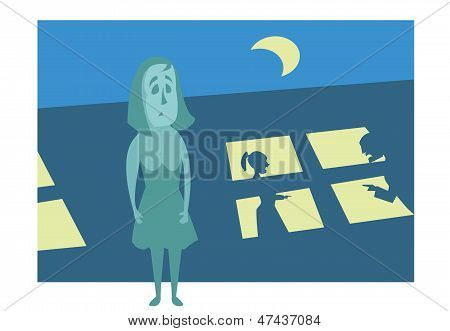 Girl on the street at night