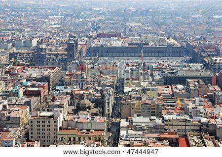 Aerial View Of Zocalo, Mexico City