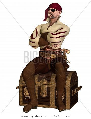 Old Pirate Sitting on a Treasure Chest