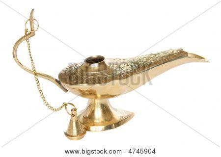 Bronze Or Golden Oil Lamp.