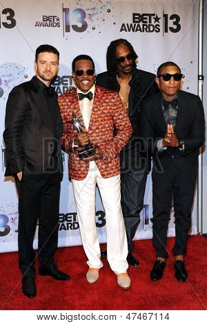 LOS ANGELES - JUN 30: Justin Timberlake, Charlie Wilson, Snoop Dogg, Pharrell Williams at the 2013 BET Awards at Nokia Theater L.A. Live on June 30, 2013 in Los Angeles, California