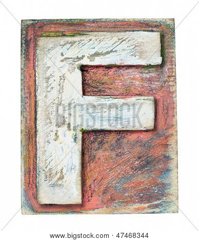 Wooden alphabet block, letter F
