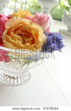 Summer Bouquet in Crystal Bowl