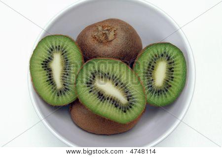 Kiwi Halves In White Bowl