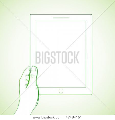 Hand holding a 10 inch tablet