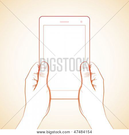 2 hand holding a 7 inch tablet