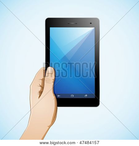Hand holding a 7 inch tablet