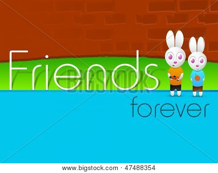Happy friendship day concept with two little bunny. poster