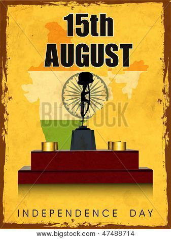 Vintage Indian Independence Day background with Amar Jawan Jyoti and text 15th August.