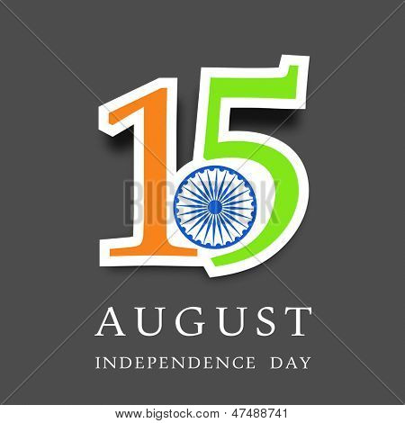 Indian Independence Day background with text 15 August in national flag colors on grey background.