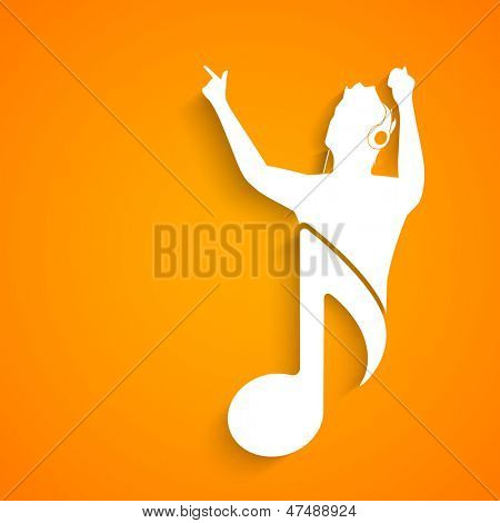 Music concept with white silhouette of a singer with musical note on yellow background.