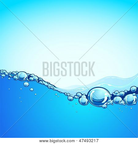 Background And Water, The Blue Ocean Wave