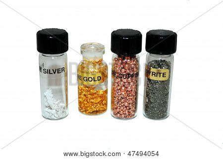 Four bottles of precious metals consisting of, silver, gold, copper and pyrite. poster