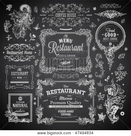Retro set of labels for restaurant menu design. Vintage floral frames with antique flowers. Engraving hand drawn style. Detailed elements. Vector eps10 illustration. Chalkboard version.