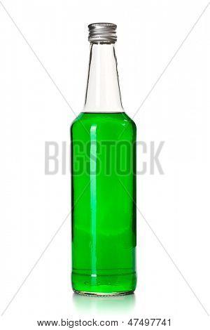 green mint liquor on white background