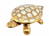 Gold turtle. Mother-of-pearl armour. Decoration from India. poster