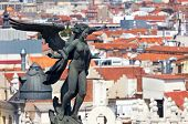 Aerial view of Madrid (Spain) / Famous Statue on the top and roofs poster