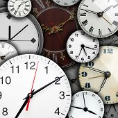 Background of many clock faces poster