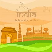 Indian Independence Day background with famous monuments India Gate, Kutubminar and Red Fort. poster