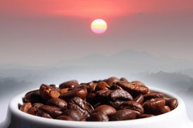 Coffee Beans Mountain And Sun