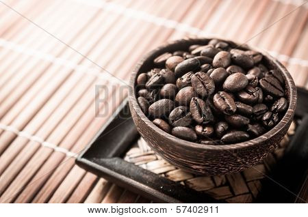 Coffee Seed In The Wood Cup