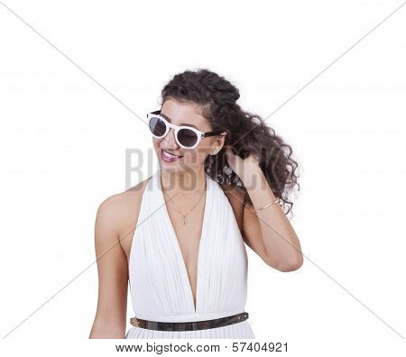 Attractive woman wearing sunglasses