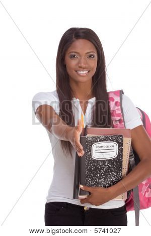 Greeting African American Woman College Student