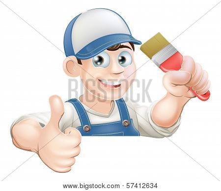 Paint Brush Man Over Sign Thumbs Up