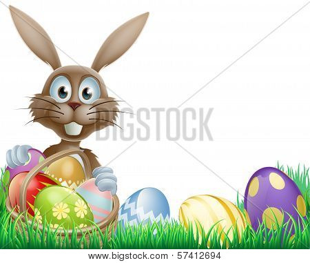 Easter Bunny And Eggs Basket