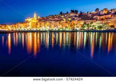 Night skyline of colorful village Menton in Provence France poster