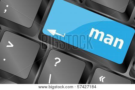 Man Words On Computer Pc Keyboard Keys