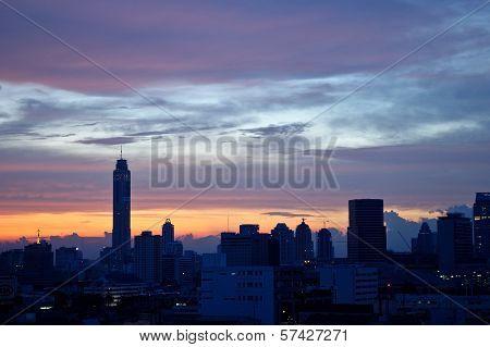 Bangkok City Thailand Sky Scrapper At Dawn