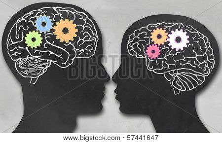 Man And Woman With Working Brain