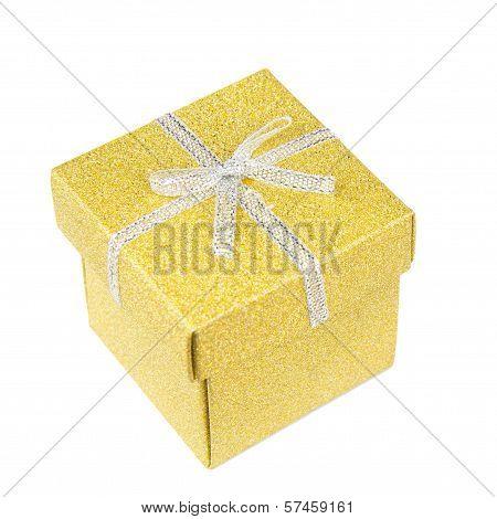 Golden Gift Box On White