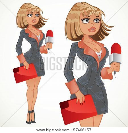 Reporter Blond Girl In Gray Suit With Red Folder
