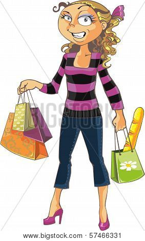Cute woman shopping  isolated on white background