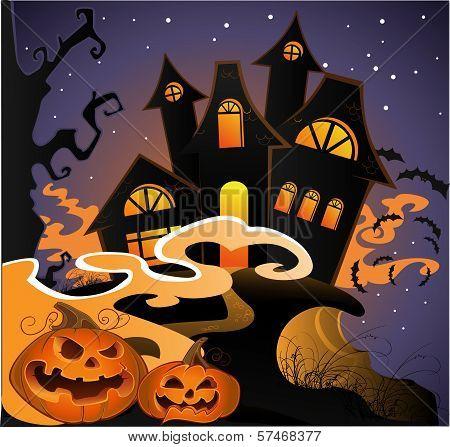 Hellowin Landscape With Pumpkins