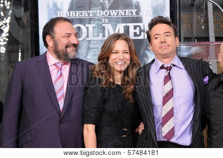 Joel Silver, Robert Downey Jr. and wife Susan Levin at Robert Downey Jr. Hand and Footprints Ceremony, Chinese Theater, Hollywood, CA. 12-07-09