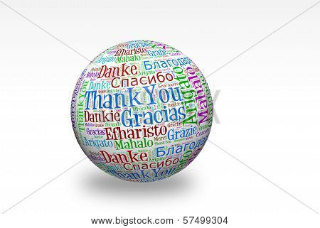 Conceptual thank you word cloud written on 3d sphere. Terms in different languages such as merci mahalo danke gracias kitos grazie and more. poster